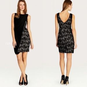 New KAREN MILLEN Lace Jersey Draped Dress Black
